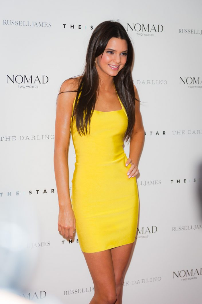 Kendall Jenner in yellow bodycon dress at Russell James book launch in Sydney