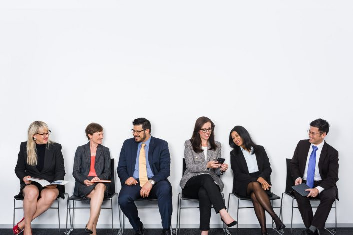 Group portrait photo of 6 business people