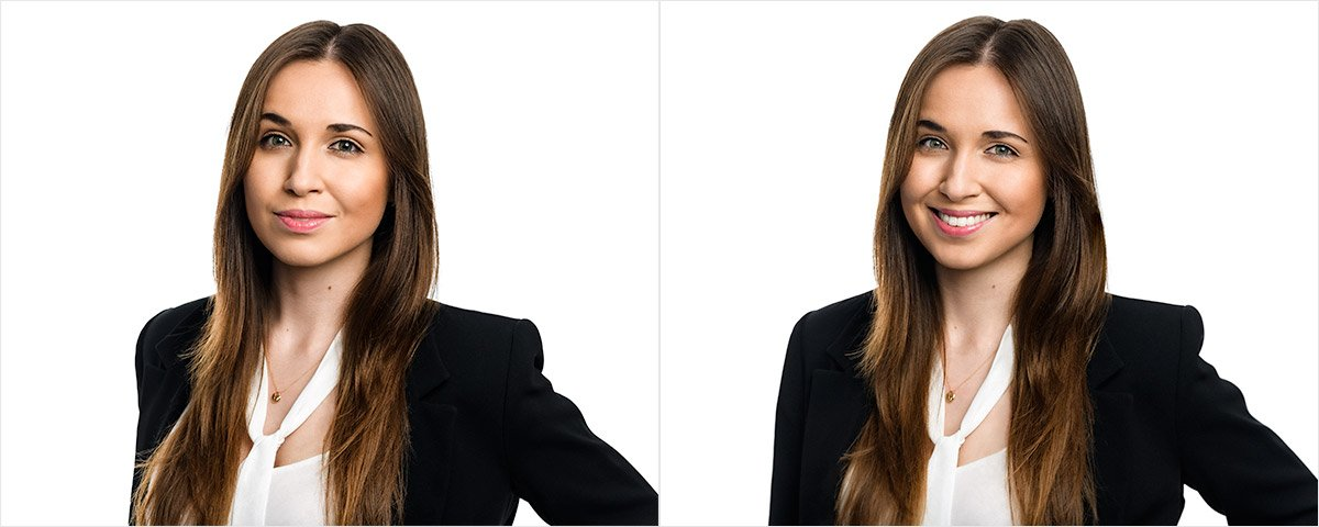 Non-smiling vs smiling headshot photos